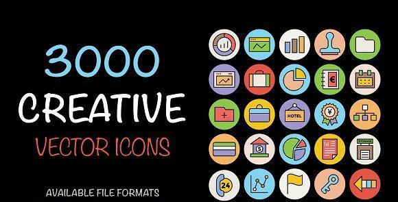 ۳۰۰۰  آیکون لایه باز Creative Vector Icons Bundle