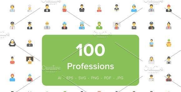 ۱۰۰ آیکون تخت Flat Professions Avatar Icons
